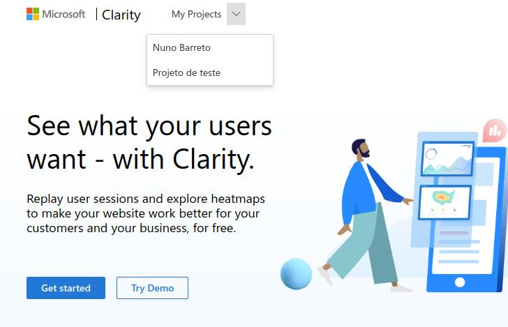 Escolher projeto Microsoft Clarity