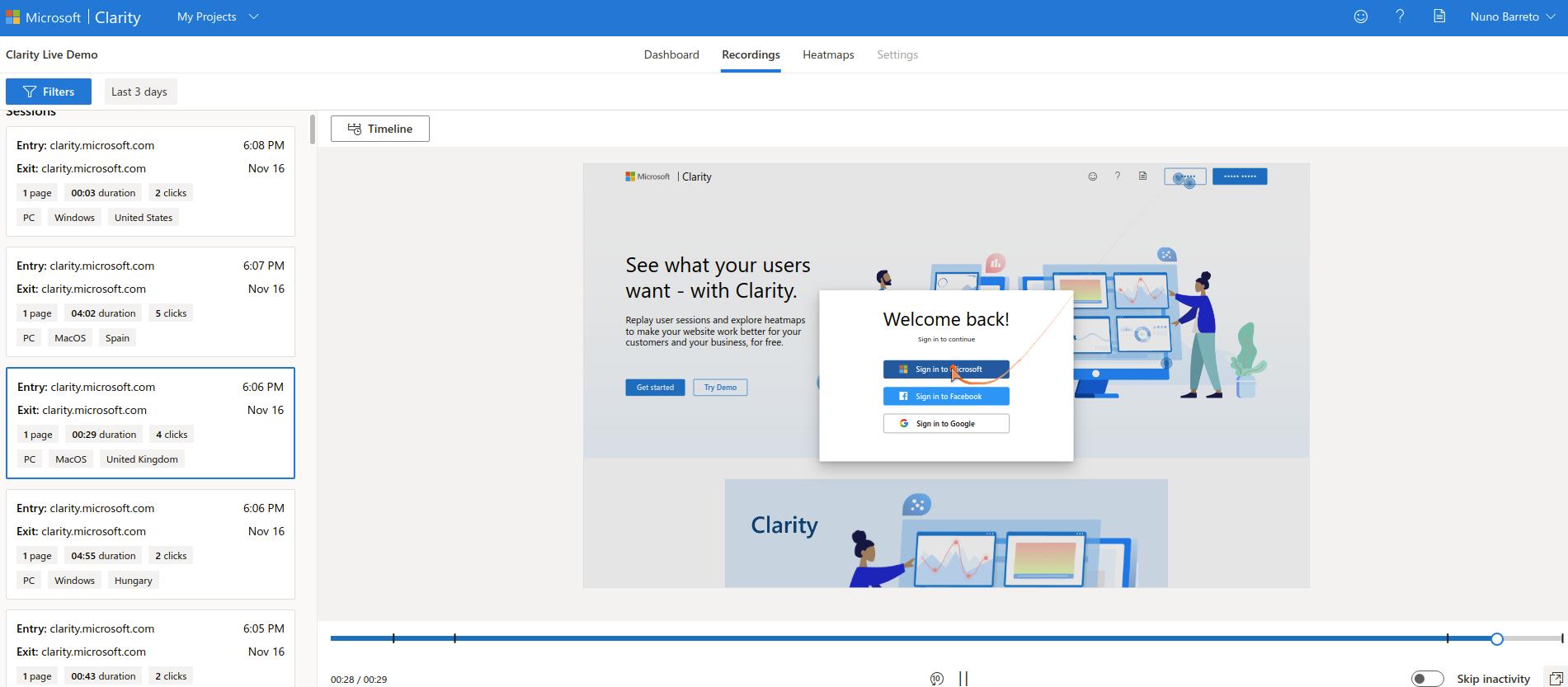 Ver sessões gravadas no Microsoft Clarity